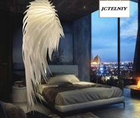 Modern creative feather chandelier Hotel restaurant sitting room bedroom decoration engineering angel wings of droplight
