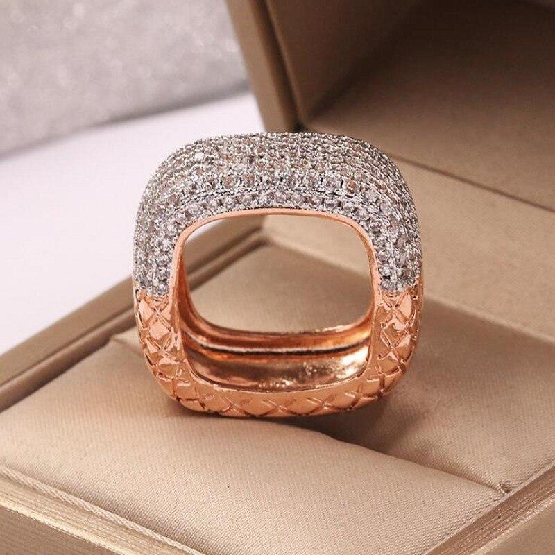 2019 nouveauté bijoux de mode chaude 925 en argent Sterling et or remplir Double couleur pavé 5A zircon cubique femmes bague de mariage - 2