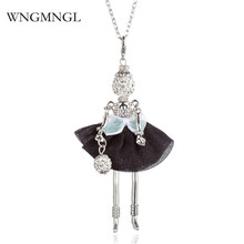 WNGMNGL 2018 New Women Pendant Necklace Black White Dress Crystal Long Doll For Statement Fashion Jewelry Gift