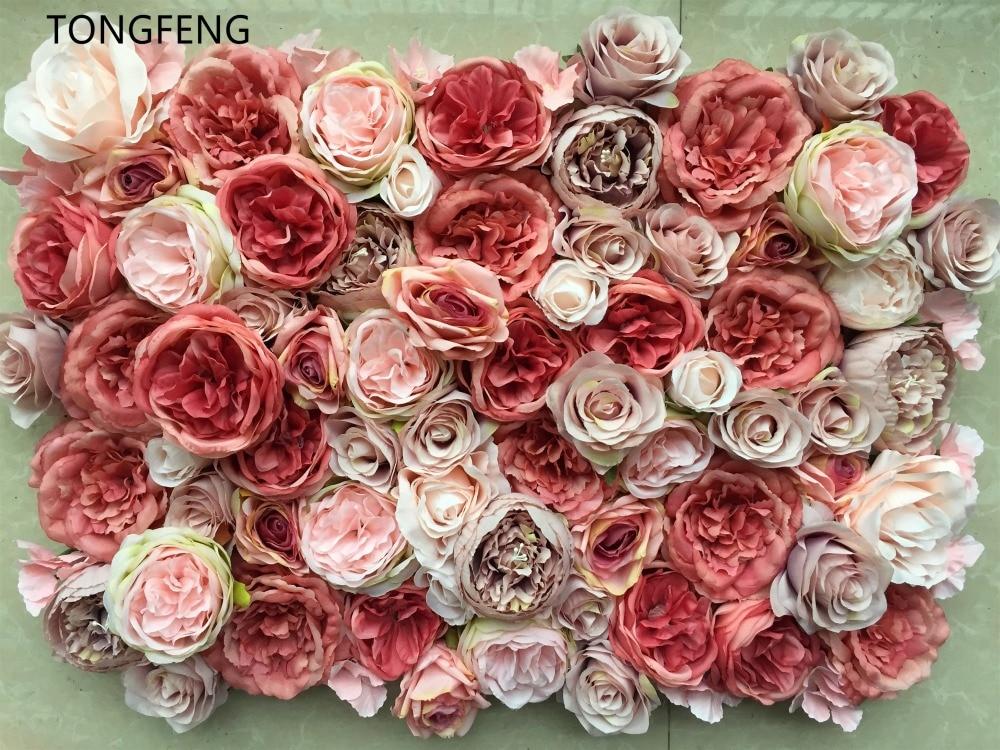 10pcs lot Artificial silk rose peony 3D flower wall wedding backdrop decoration flower runner wedding stage