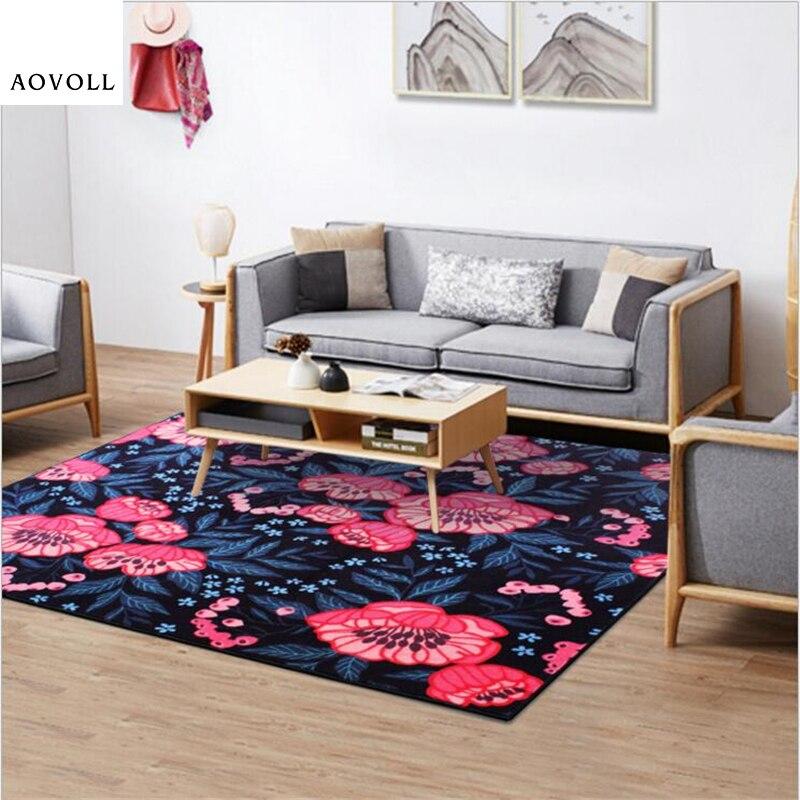 AOVOLL Style nordique classique fleur tapis tapis pour salon chambre tapis plancher porte tapis doux Table basse zone tapis
