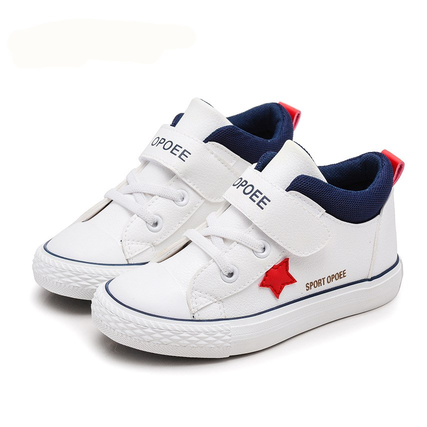 AI LIANG Spring Casual Children Shoes Sneakers Leather High Help Waterproof Black red Ki ...