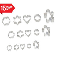 Cookie Cutters 15 Pieces Set By Delfenfen Biscuit Cutter Set Create Perfect Shaped Cookies Mini Cookie