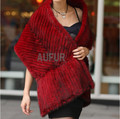 Classical Real Mink Fur Shawl Knitted Big Scarf Womens Casual Wrap Elegant Real Fur Cape 100% Handmade Solid Pashmina AU00062