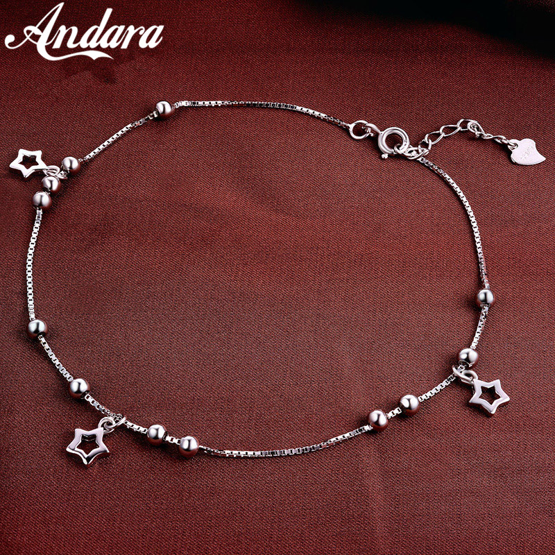 100% 925 Silver Anklet Woman Pendant Pendant Silver Anklet Summer Style