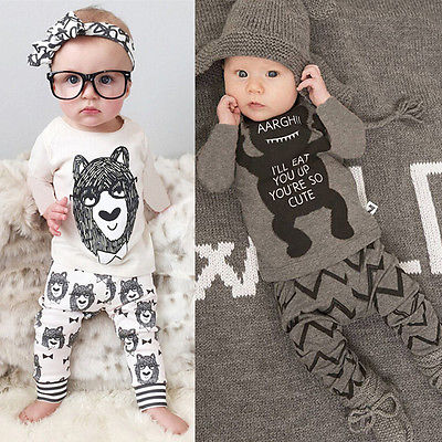 New  Fashion Baby Boy Girls Monster Squad Bear Tops T-shirt+Pant Leggings 2pcs Outfits Set  I'll   eat  you up, you are so cute 3pcs baby boy clothing set newborn baby girls clothes i ll eat you up i love you so rompers pants hat toddle outfits