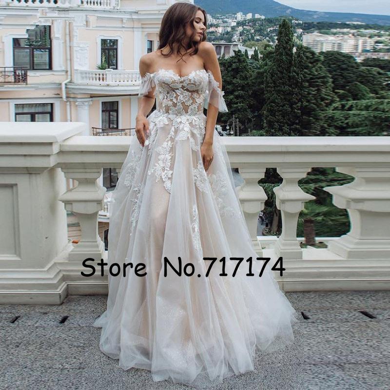 A-Line Tulle Wedding Dress Appliques With Illusion Back Wedding Gowns Off The Shoulder Bridal Dress Vestido De Noiva