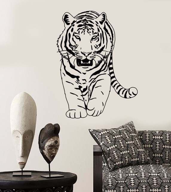 Tiger Wall Stickers Home Decor Living Room Bedroom Zoo Wall Decal ...
