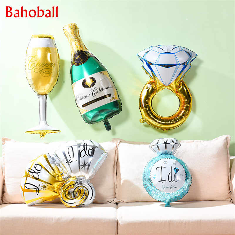 1Pcs Grote Ballon Diamanten Ring Folie Ballon Opblaasbare Witte Bruiloft Verjaardag Party Decor Helium Lucht Ballon Event Feestartikelen