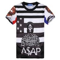 Hip Hop Stil 2017 Neue Mode Für Männer Sommer Tops Tees Grafik drucken Asap Rocky Neuheit T-shirt Hip Hop Streetwear Für Männer