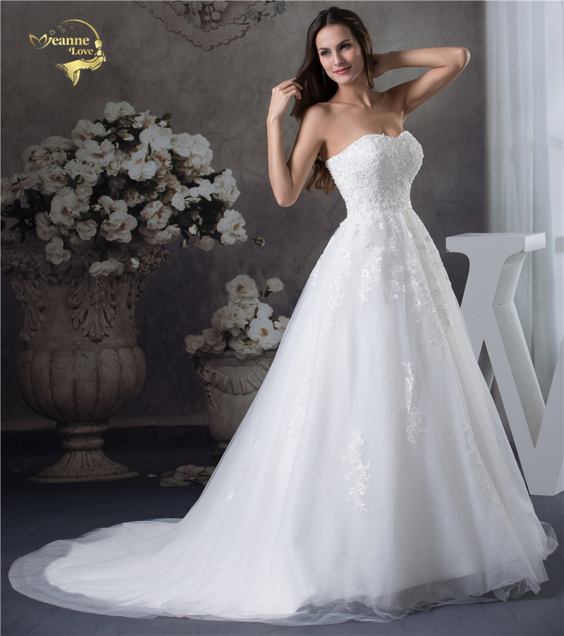 Jeanne Love Soft Tulle Sweetheart Wedding Dresses Perfect 2018 New Applique Lace Bridal Gown A Line Robe De Mariage JLOV75951 5
