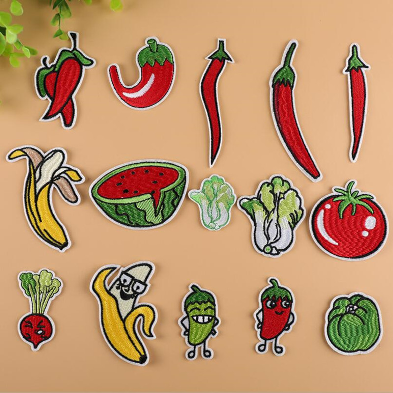 Fruits And Vegetables Patchwork Patch Embroidered Patches For Clothing Iron On Close Shoes Bags Badges Embroidery
