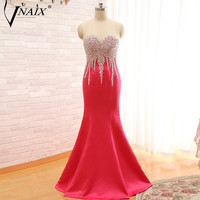 Vnaix P1114 Sexy Illusion Top Heavy Beaded Mermaid Red Prom Dress