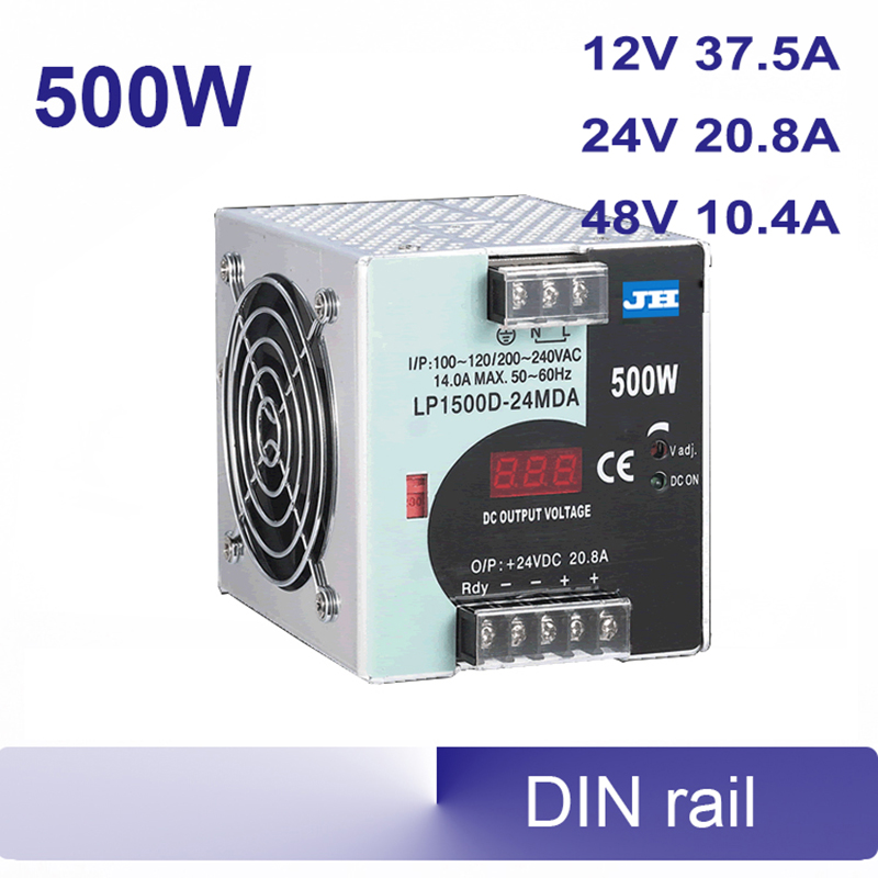 DIN rail Switching power supply 500W 12volt Single Output PSU 115/230V input with voltmeter voltage display montior 12V 24V 48V hot sale 12 volt switching power source supply rainproof 12v 15 200w fy 201 12 16 5a single output china