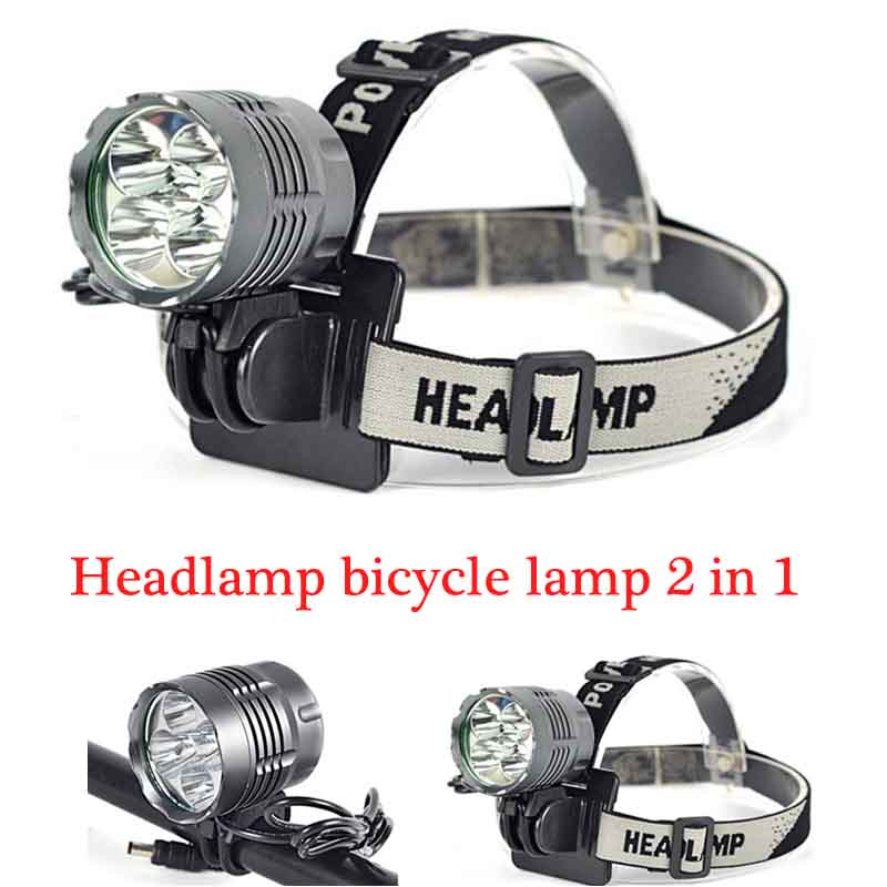 Hot 10000 Lumen HeadLight 5x XM-L T6 LED 3 Modes Headlamp Bicycle Light 2 in 1 Torch+8.4V Battery+Charger Pack Set Luz Bicicleta