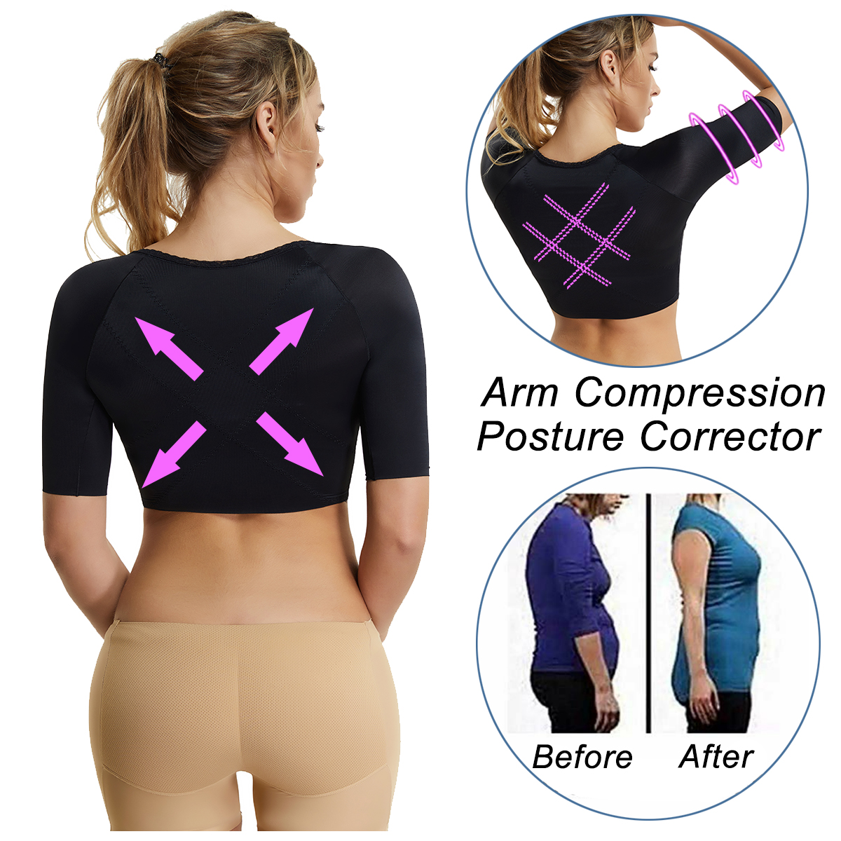 Women Humpback Posture Corrector Invisible Arm Shaper Waist trainer Compression Sleeves Shapewear Chest Brace Up Shoulder Belt