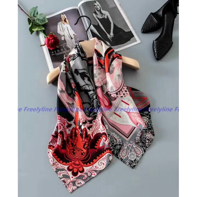 Fashion Printed 100% Silk Twill   Scarf   Hijab Women Large Square Silk Scarfs Shawl   Wraps   for Hair Wrapping Hand Rolled 88x88cm