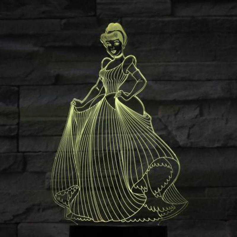 Usb 3d Led Night Light Decoration Girls Children Kids Baby Gifts 7 Color Changing Visual Table Lamp Princess Cinderella Figure