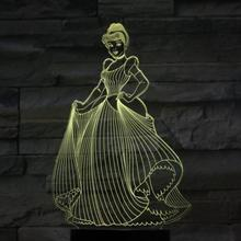 цена на Usb 3d Led Night Light Decoration Girls Children Kids Baby Gifts 7 Color Changing Visual Table Lamp Princess Cinderella Figure