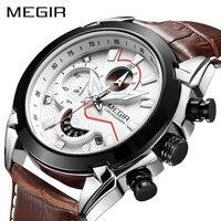 MEGIR Military Sport Watch Men Top Brand Luxury Leather Army Quartz Watches Clock Men Creative Chronograph
