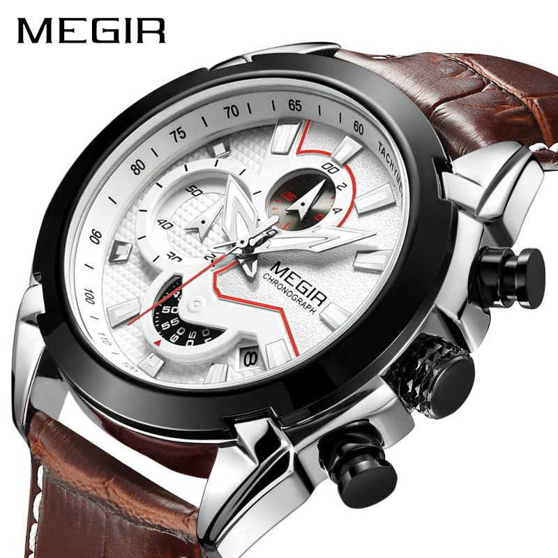 MEGIR Military Sport Watch Men Top Brand Luxury Leather Army Quartz Watches Clock Men Creative Chronograph Relogio Masculino