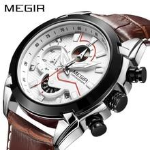 MEGIR askeri spor İzle erkekler üst marka lüks deri ordu kuvars saatler saat erkekler yaratıcı Chronograph Relogio Masculino