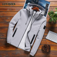 LUYZJZEN Spring Autumn Jacket with Hood Fashion Windbreaker Jacket Zipper Pockets Casual Coats Long Sleeves Male Outwear Hot K11(China)