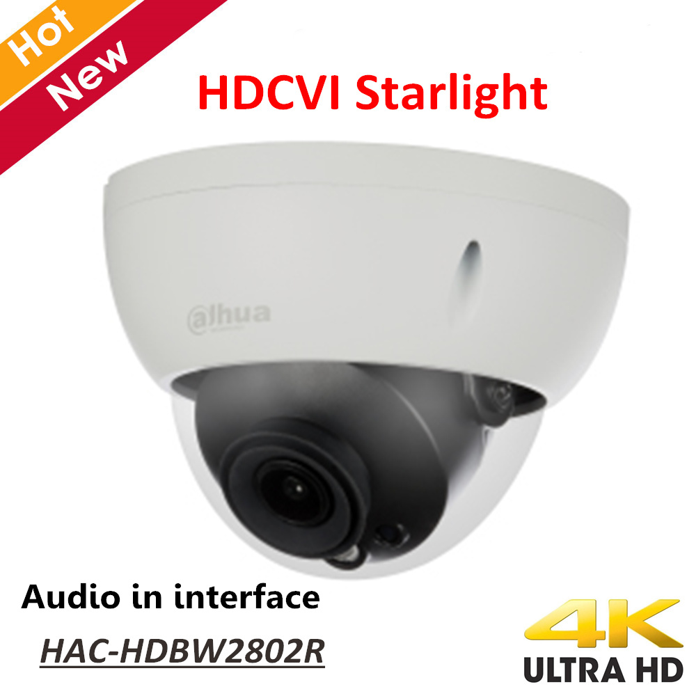 New Dahua 4K Starlight HDCVI Camera Smart IR Dome Camera Video Resolution 8MP Audio in interface