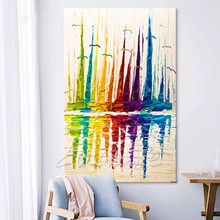 Hand painted canvas oil paintings Cheap large boat modern abstract oil painting wall decor Art pictures for living room 2