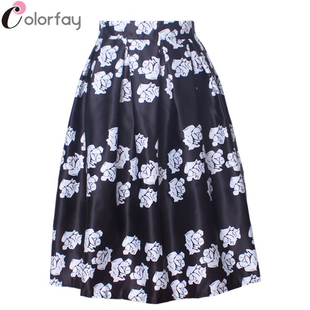 97766610a Satin Midi Skirt Women Ball Gown Pleated High Waist Ladies Casual Simple Black  White Floral Print Flared Skater Skirt Saia SK044