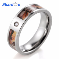 Unisex Camo Ring Titanium CZ Crystal Outdoor Yellow Leaf Camo Engagement Ring For Men Wedding Band
