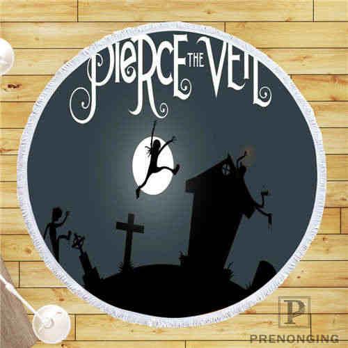 カスタム Diy カスタマイズされたマイクロファイバー生地 pierce_the_veil_logo @ ラウンドビーチブランケットタオルプリントオンデマンド 150 センチメートル #19-01 -28-3-96