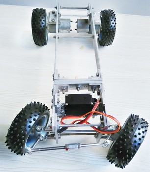 Metal 4WD Robot Car Chassis Frame Steering Engine Steering Obstacle Avoidance With Motor Servo Rubber Wheel Remote Control