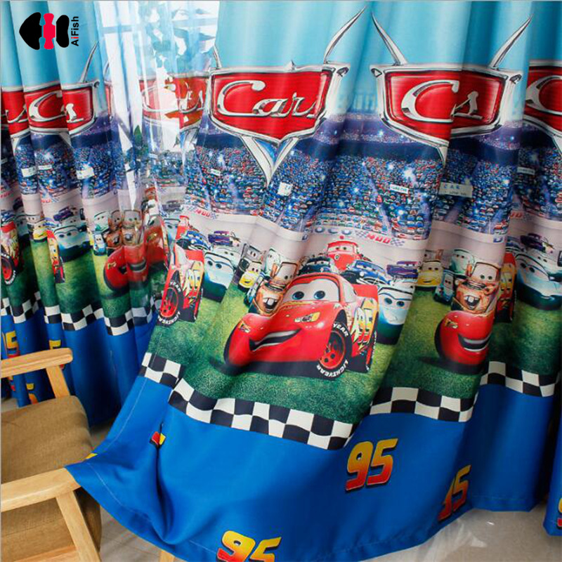 Cartoon Motorcycle Race Car Bus Curtains Semi-Blackout Boys Sons Kids Bedroom Nursery Study French Curtain Window Blinds WP253C