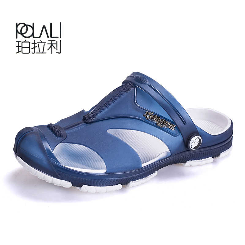 3c93d5e6898d POLALI Men Jelly Sandals Flat Heel Slippers Breathable Hole Non-slip Shoes  Wading Water Sneakers