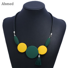 Ahmed Fashion Trendy Geometric Tassel Pendant Leather Chain Necklaces & Pendants Statement Necklace for Women Jewelry trendy crystal statement necklaces pendants women jewelry multi link chain rhinestone necklace bijoux colares n316