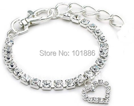Factory Wholesale,Free Shipping, Personalized Rhinestone Crystal Necklace For Pet Collar With Heart ,Can Offer Special Size
