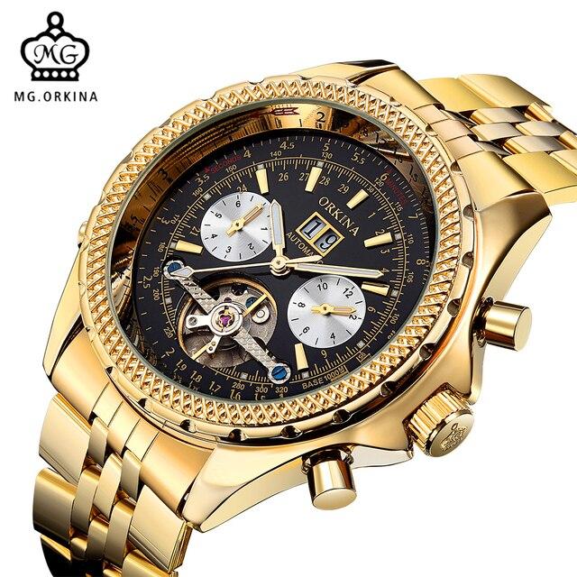 0931f9be934 Orkina turbilhão de aço inoxidável dos homens relógios top marca de luxo de  ouro esqueleto mecânico