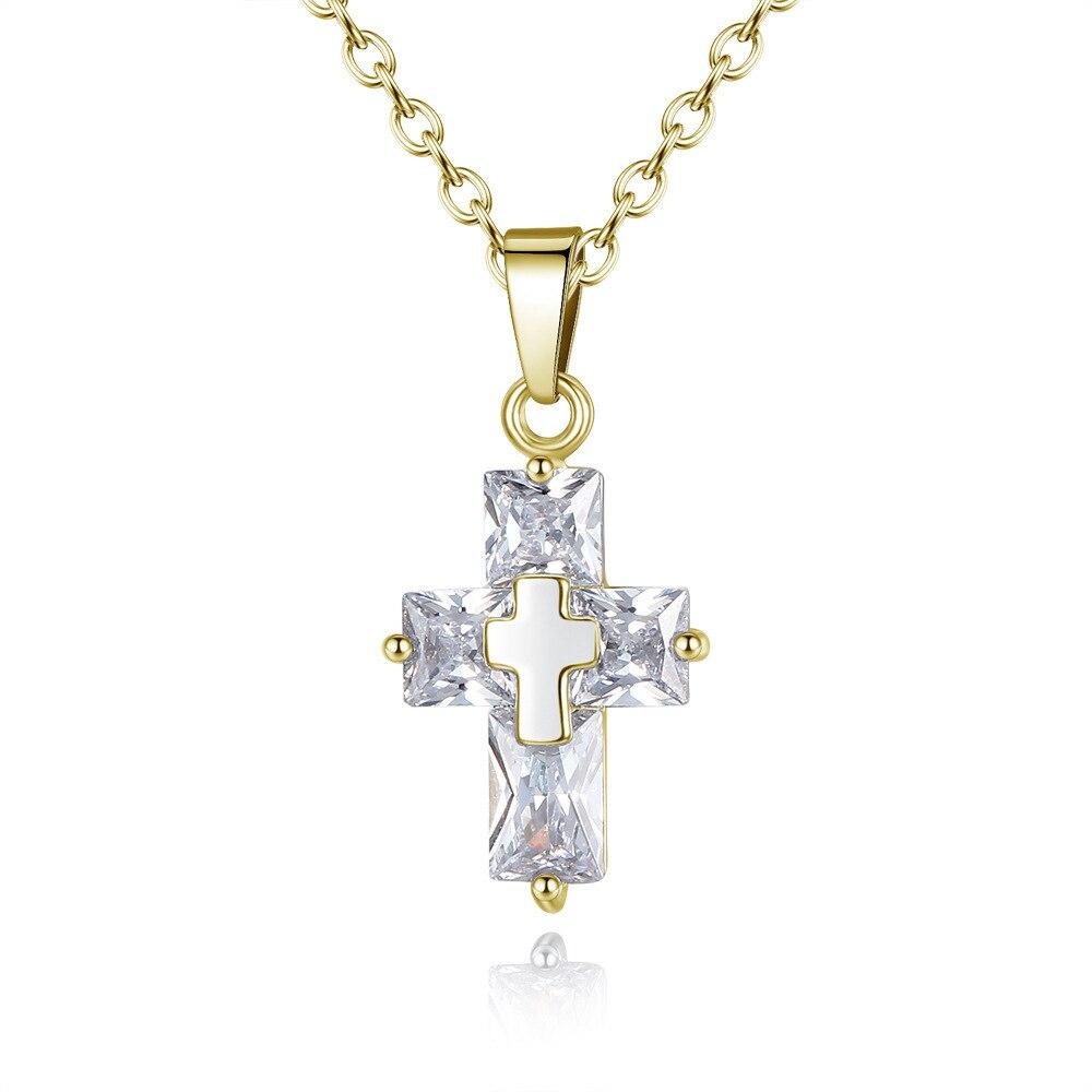 Jewelry Necklace Cross Christian Cross Zircon Pendant religious christian symbol christian necklace men in Wall Crosses from Home Garden