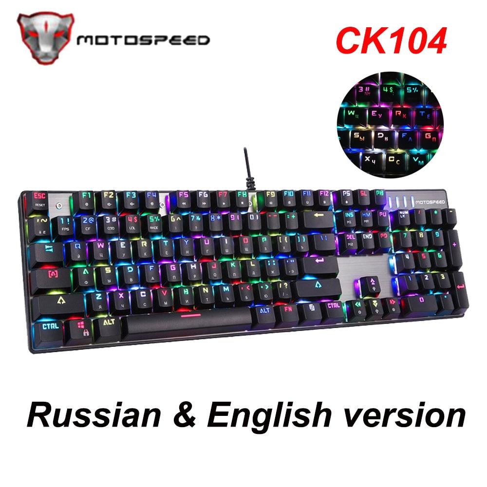 MOTOSPEED CK104 Russe Anglais Rétro-Éclairé Mécanique Clavier Filaire Clavier de Jeu En Métal 104 Touches Bleu/Rouge Commutateur pour Overwatch