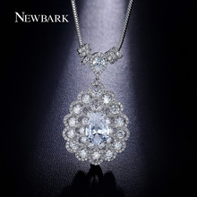 NEWBARK Big Pendant Necklace 43cm Snake Chain Add 5.5cm Extend Chains Teardrop Shaped Sparkle Wedding Necklaces For Bride