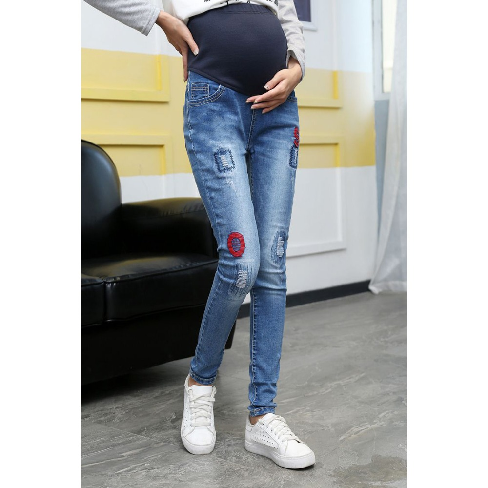 Spring Denim Jeans Maternity Pregnant Women Pants Fashion Hot Patch Maternity Pants Pregnant Trousers Maternity Pregnant Clothes woman fashion slim solid knee distrressed maternity wear jeans premama pregnancy prop belly adjustable pants for women c73