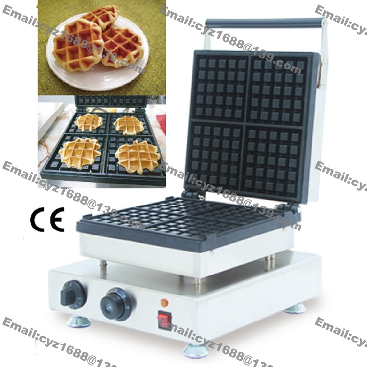 Commercial Nonstick Electric 4pcs Square Belgium Waffle Iron Maker Baker Machine