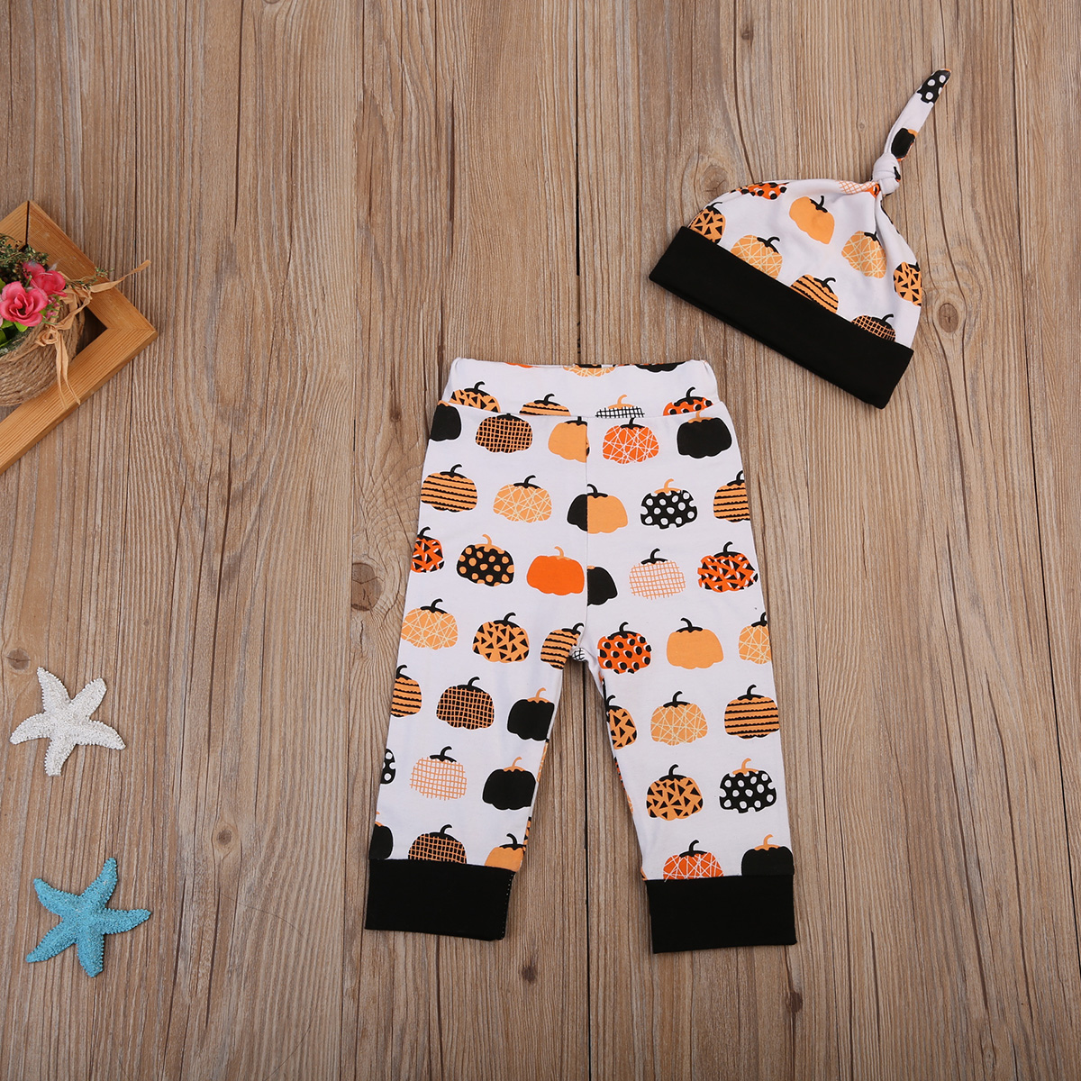 17 Cute Halloween Newborn Baby Boys Girls Winter Clothes Long Sleeve Romper Pants Leggings Cotton Pumpkin Print Outfit 3pcs 9