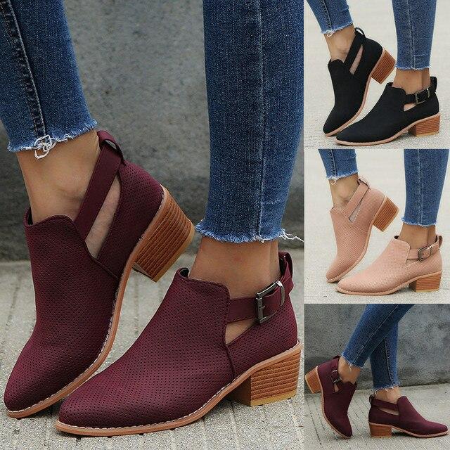 Giày Nữ Mũi Nhọn Giày Rỗng Boot Khóa Dây Gót Vuông Giày Đơn Ngoài Trời Da PU Mùa Thu Giày Tháng 9 #