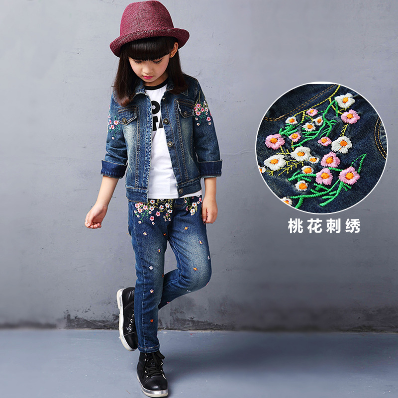 Girls Denim Clothing Set 2017 Spring/Autumn Children's Sports Suits Children Embroidered Cowboy Two-piece Clothing Sets 2016 spring new girls sets long sleeved denim jacket with striped lace dress two piece nice quality children clothing set a396