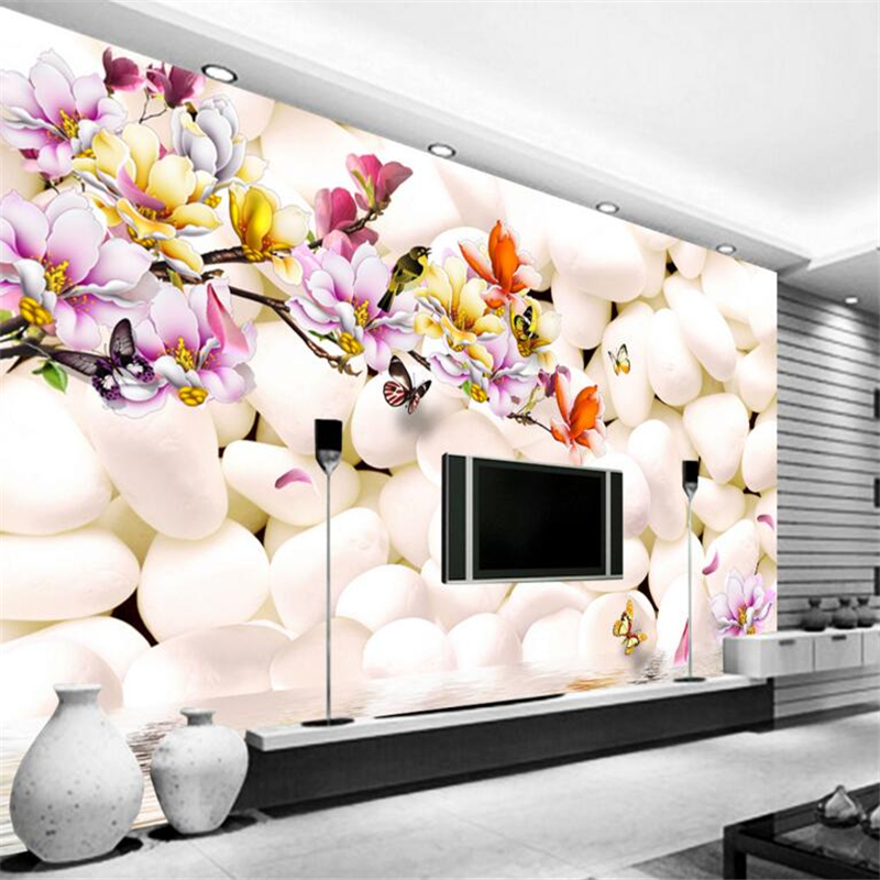 Beibehang 3D Wallpaper Photo White Pebble Magnolia Flower Color Carved Living Room Bedroom TV For Walls 3 D