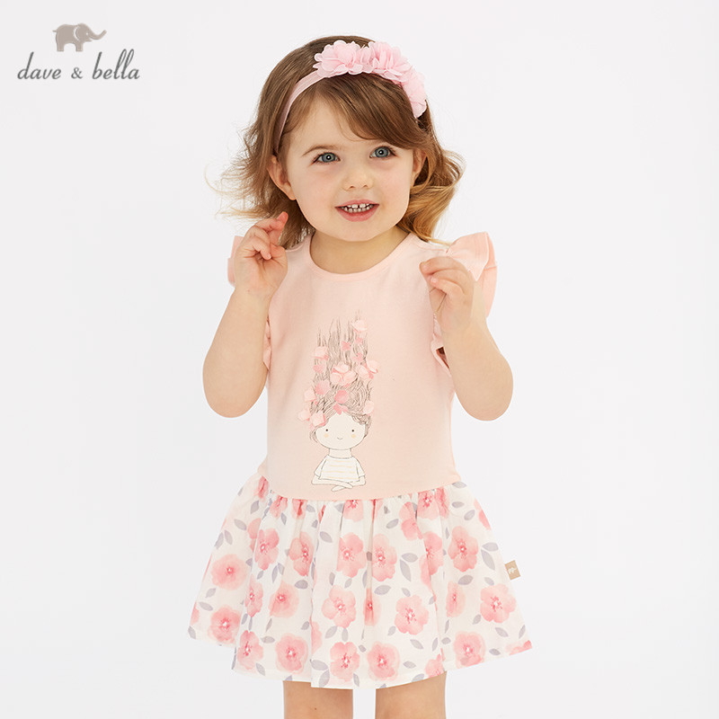 DBZ10438 dave bella summer baby girl's princess cute floral print dress children fashion party dress kids infant lolita clothes-in Dresses from Mother & Kids    1