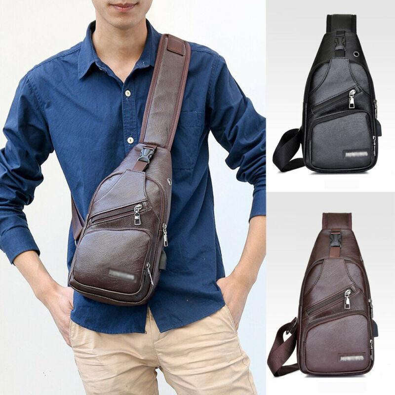 2019 Newest Hot Men's PU Shoulder Bag Sling Solid Chest Pack USB Charging Sports Crossbody Waist Packs