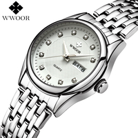 Women Watches Brand Luxury WWOOR Day Date Clock Female Stainless Steel Montre Femme Silver Casual Ladies